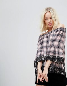 Read more about Hazel off shoulder checked blouse with lace trim - blush