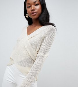 Read more about Parallel lines light knit jumper with wrap front - cream