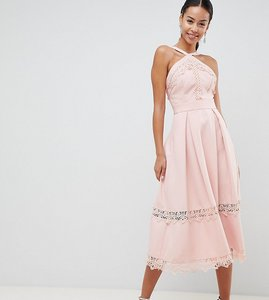 Read more about True decadence tall premium frill high neck prom skater dress with lace contrast inserts - nude