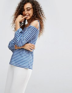 Read more about Asos top in stripe with off shoulder and pretty bell sleeve - navy white