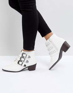 Read more about Miss selfridge multi buckle heeled western boots - white