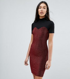 Read more about Noisy may tall high neck mesh top glitter bodycon dress - red
