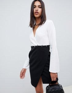 Read more about Asos design mono wrap dress with trim detail - mono