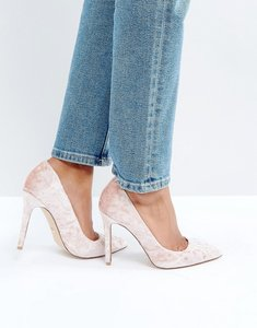 Read more about Faith cassidy blush velvet court shoes - pink