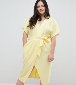 Read more about Closet london plus short sleeve tie front dress - lemon