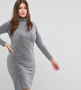 Read more about Club l plus metallic high neck dress - silver