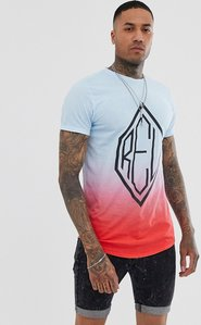 Read more about Religion curved hem t-shirt with logo in fade blue and red