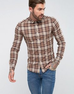 Read more about Asos skinny check shirt - brown