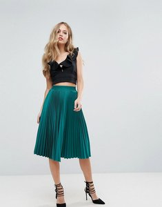 Read more about Outrageous fortune full pleated midi skirt - forest green