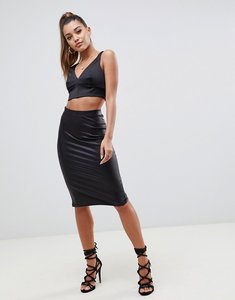 Read more about Asos sculpt me leather look pencil skirt - black
