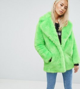 Read more about Jakke mid length faux fur coat - lime