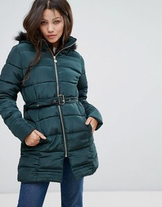 Read more about Brave soul padded coat in mid length - teal