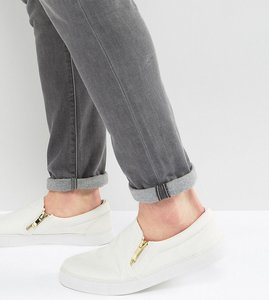 Read more about Asos wide fit slip on plimsolls in white with zips - white