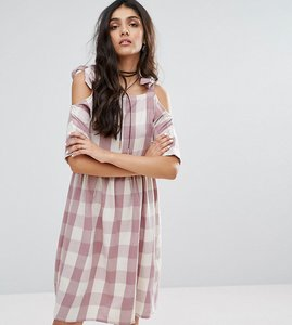 Read more about Glamorous tall gingham printed cold shoulder midi dress - multi