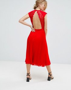 Read more about Elise ryan open back skater dress with pleated skirt - red