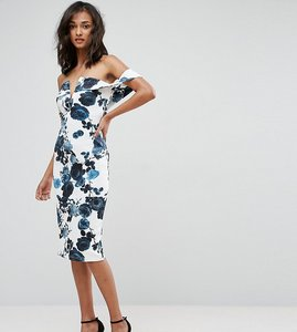 Read more about Parisian tall off shoulder floral pencil dress - white black