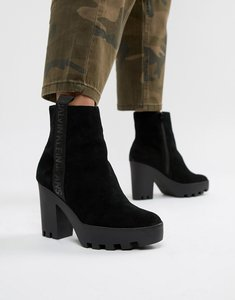 Read more about Calvin klein serina black suede chunky heeled chelsea boots - black suede