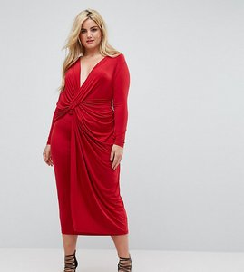 Read more about Asos curve plunge twist front midi dress - red
