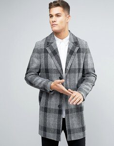Read more about Asos harris tweed overcoat in grey check - grey