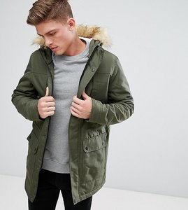 Read more about Only sons parka with faux fur borg lined hood - deep depths
