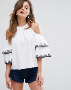 Read more about Miss selfridge broderie detail cold shoulder top - white