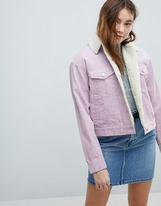 Read more about Asos design cord jacket with borg collar in lilac - lilac