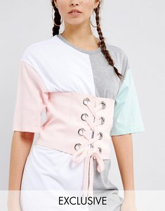 Read more about Seint corset belt in cotton with eyelet lace up - pink