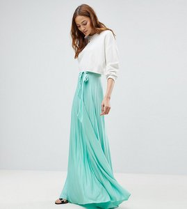 Read more about Asos tall pleated maxi skirt with belt - mint