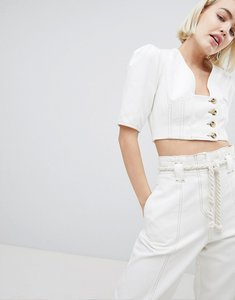 Read more about Asos design denim top in white with button detail - white