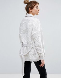 Read more about John jenn gemini textured cardigan with belt - glacier
