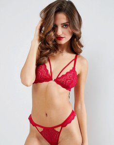 Read more about Asos malin lace triangle bra - red