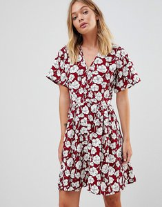 Read more about Trollied dolly boho floral skater dress - burgandy