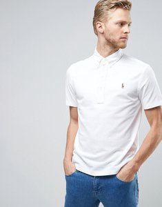Read more about Polo ralph lauren stretch pique polo slim fit buttondown in white - white