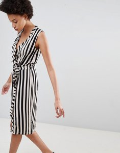 Read more about Unique21 striped belted wrap dress - black stripe