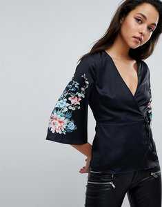 Read more about Fashion union kimono blouse with floral printed sleeves - black