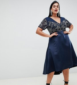 Read more about Lovedrobe luxe embellished v neck midi dress - navy