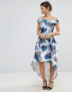 Read more about Amy lynn bardot prom skater dress in floral print - white