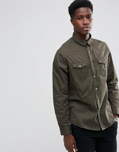 Read more about Brave soul double pocket long sleeve shirt - green
