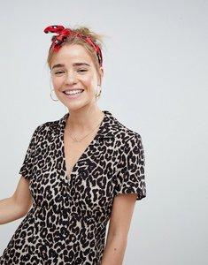 Read more about Asos design button through mini skater dress in animal print - multi