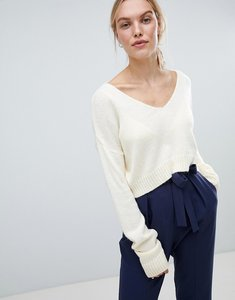 Read more about Asos design cropped jumper in fluffy yarn and off shoulder - cream