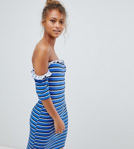 Read more about Wednesday s girl off shoulder bodycon dress in stripe