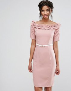 Read more about Paper dolls bardot midi dress with belt and ruffle detail - rose