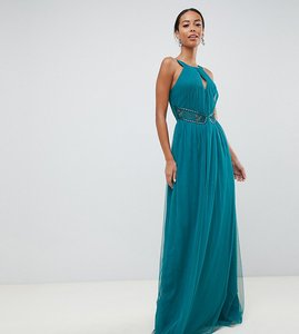 Read more about Little mistress tall plunge front embellished maxi dress in green