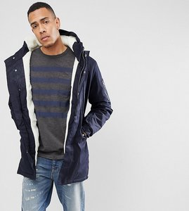 Read more about Bellfield tall borg lined parka with hood - navy