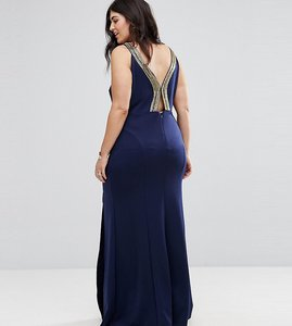 Read more about Tfnc plus highneck maxi dress with embellished back - navy gold