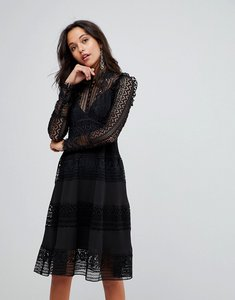 Read more about French connection frill detail midi dress - black