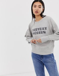 Read more about Selected femme slogan crop sweatshirt - light grey melange