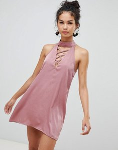 Read more about Glamorous lace up detail a-line dress - dusty rose