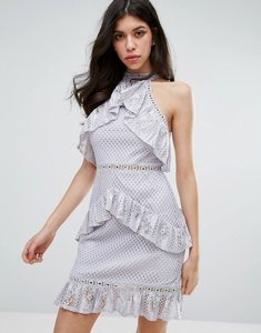 Read more about True decadence sleeveless lace ruffle detail mini dress - grey