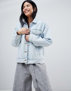 Read more about Pull bear oversized denim jacket with pocket detail in blue - blue